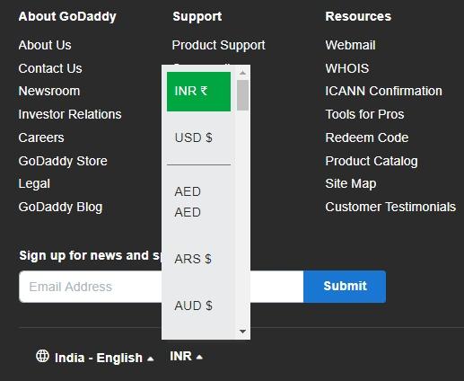 Godaddy 0.99 $ Domain