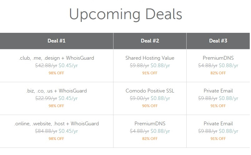 NameCheap 25 November 2016 Deals